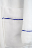 Plush Bath Robe White with Royal Blue Piping