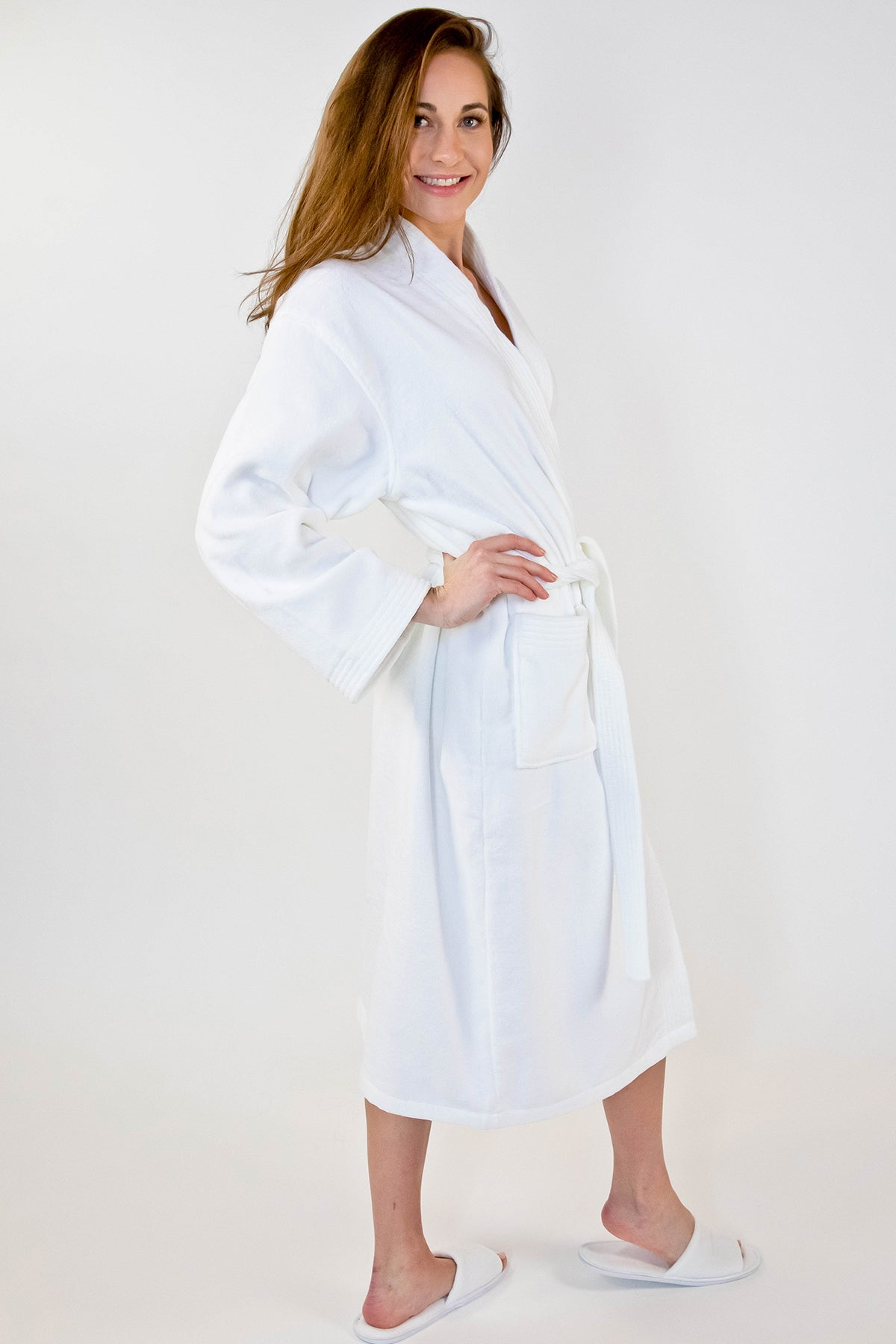 Plush V Neckline Collar Bath Robe White