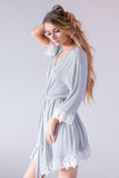 Light Grey Jersey Lace Robe