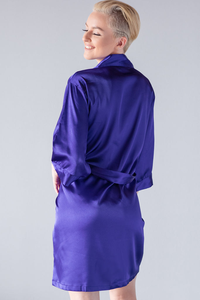 Regal Purple Satin Kimono Robe