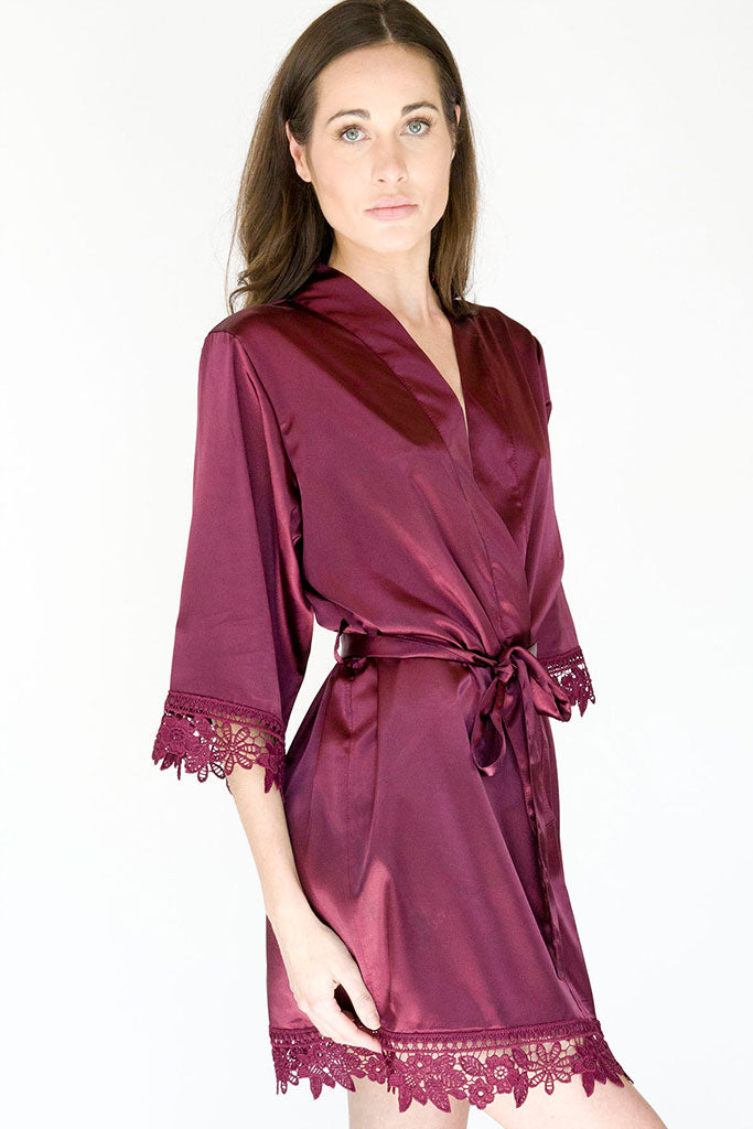Wine Lila Lace Bridal Robe