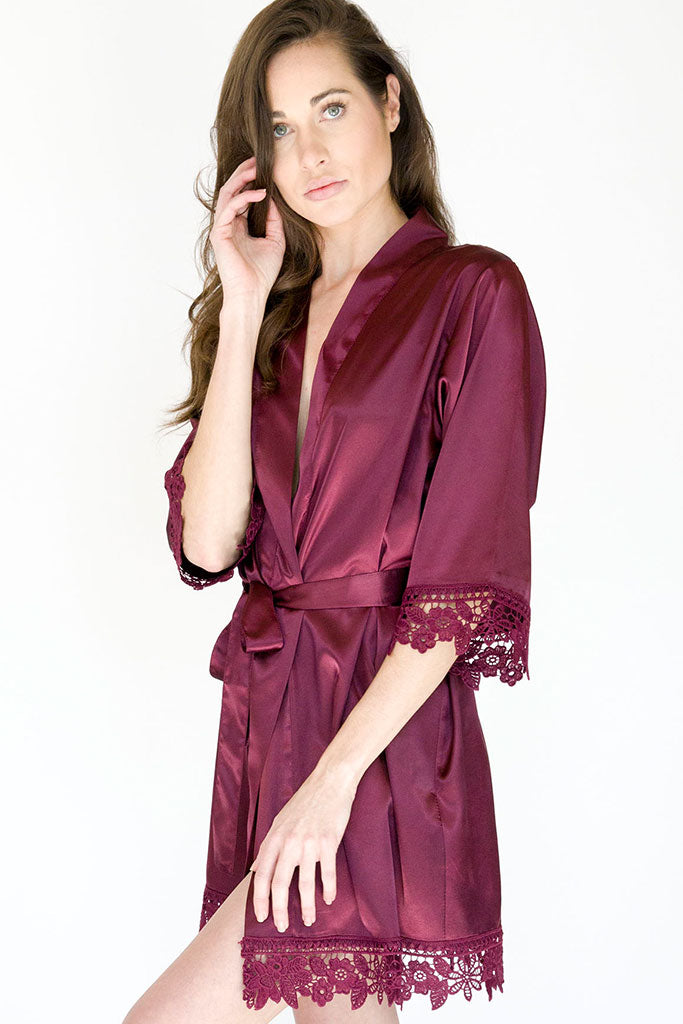 wine lila lace bridal robe front view