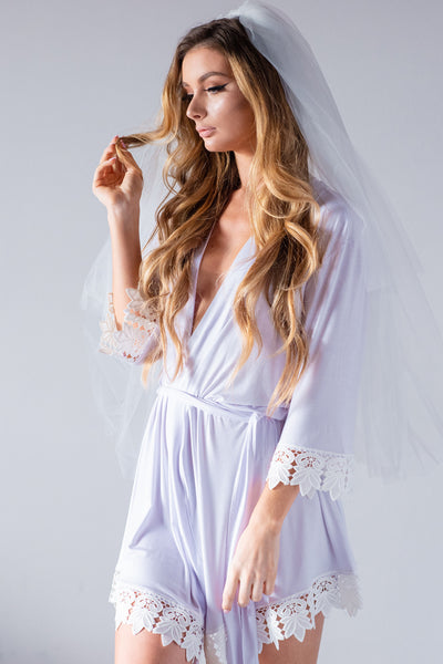 White Jersey Lace Robe