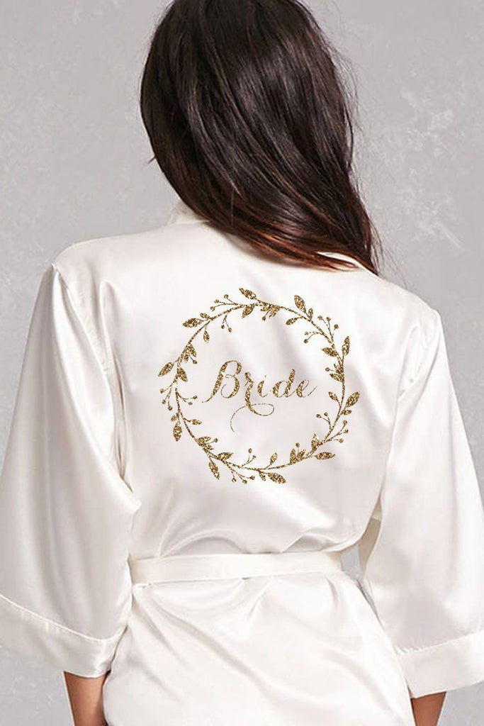 Bride Robe, Satin Bride Robe, Ivory Bride Robe Gold Glitter