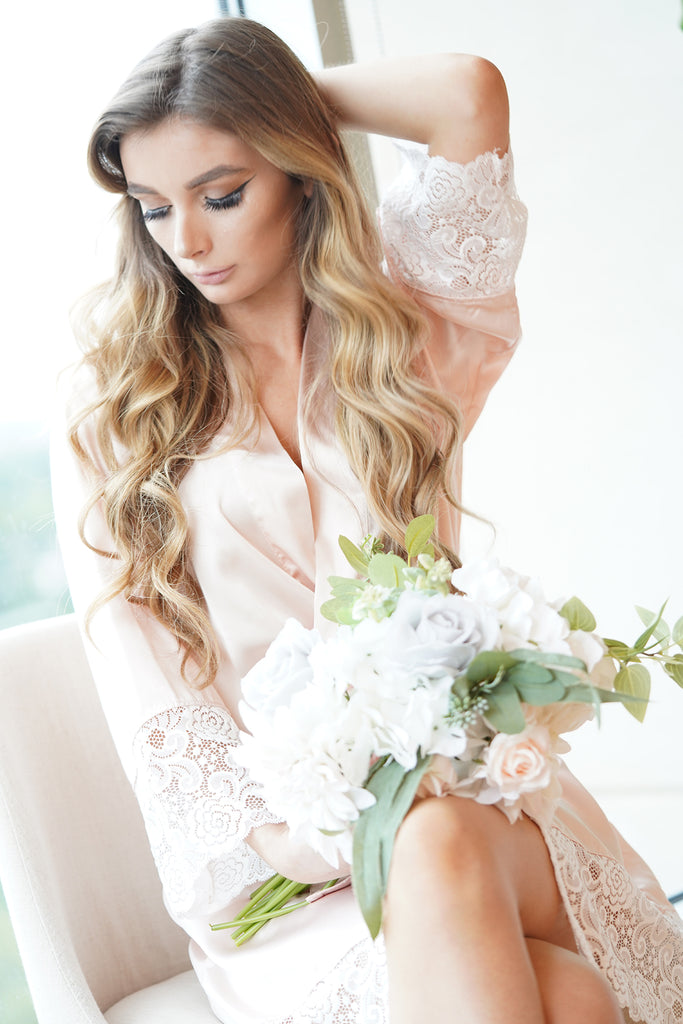 blush lace bridal robe front view