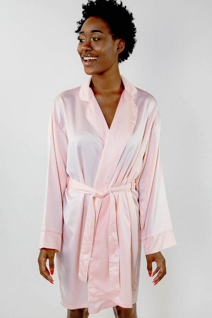 Blush Piped with White Trim Satin Kimono Robe