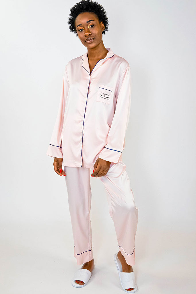blush pajama pant set front view