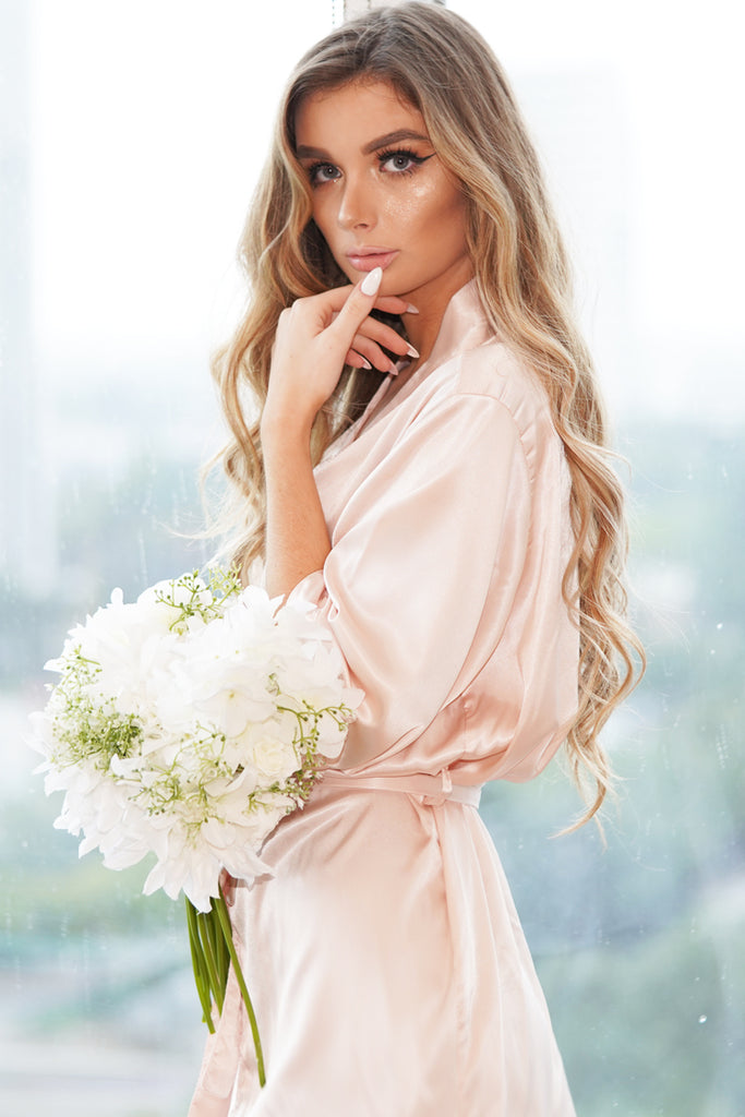 Blush Satin Bridal Robe close up image