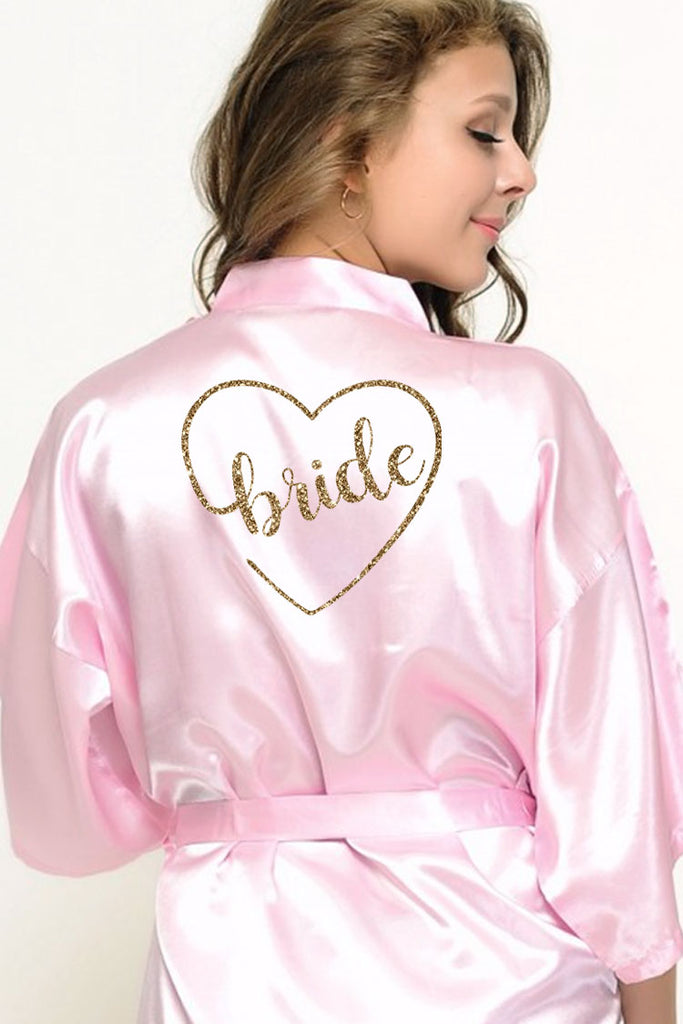 heart style bridal robe back view