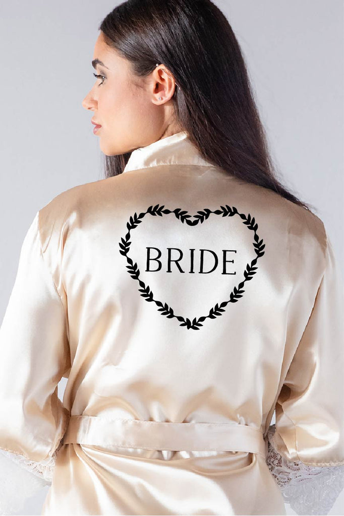 heart wreath style bridal robe back view