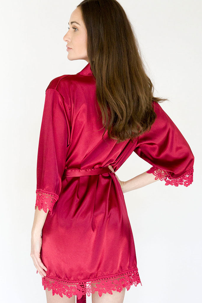 Burgundy Lila Lace Bridal Robe