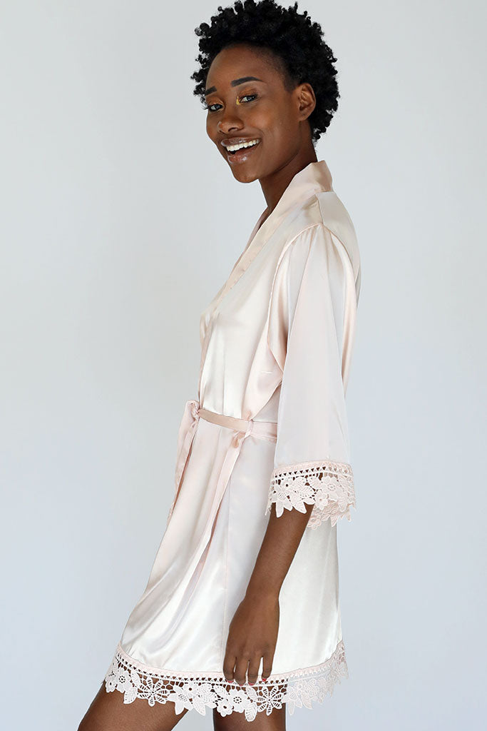 blush lila lace champagne bridal robe side view