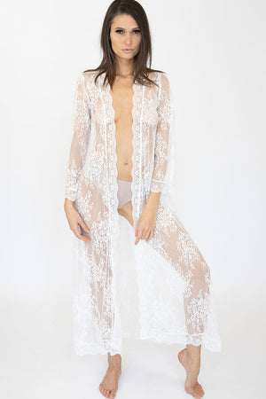 Long Lace Clementine Robe