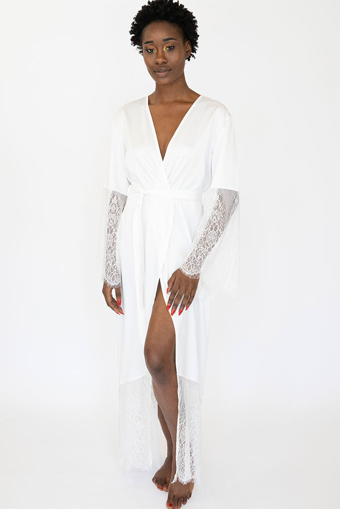Long Lace Empire Robe