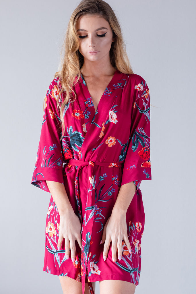 Floral Burgundy Cotton Robe