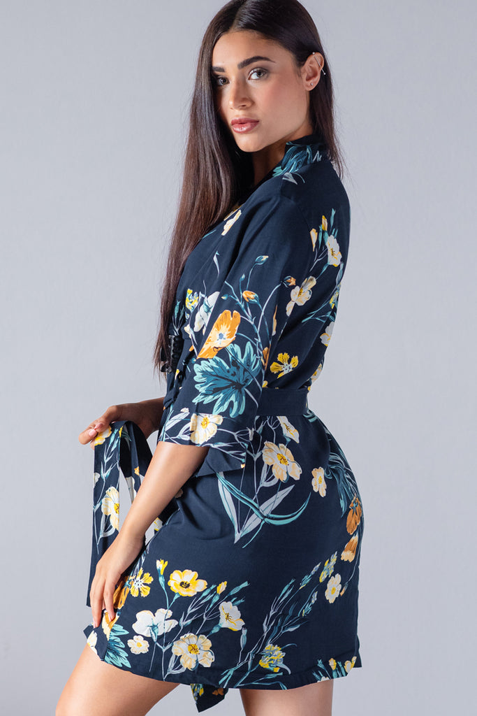 Floral Midnight Navy Satin Robe