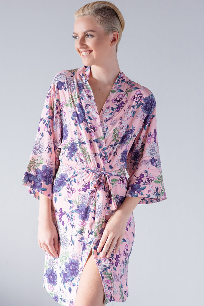 Floral Pink Cotton Robe