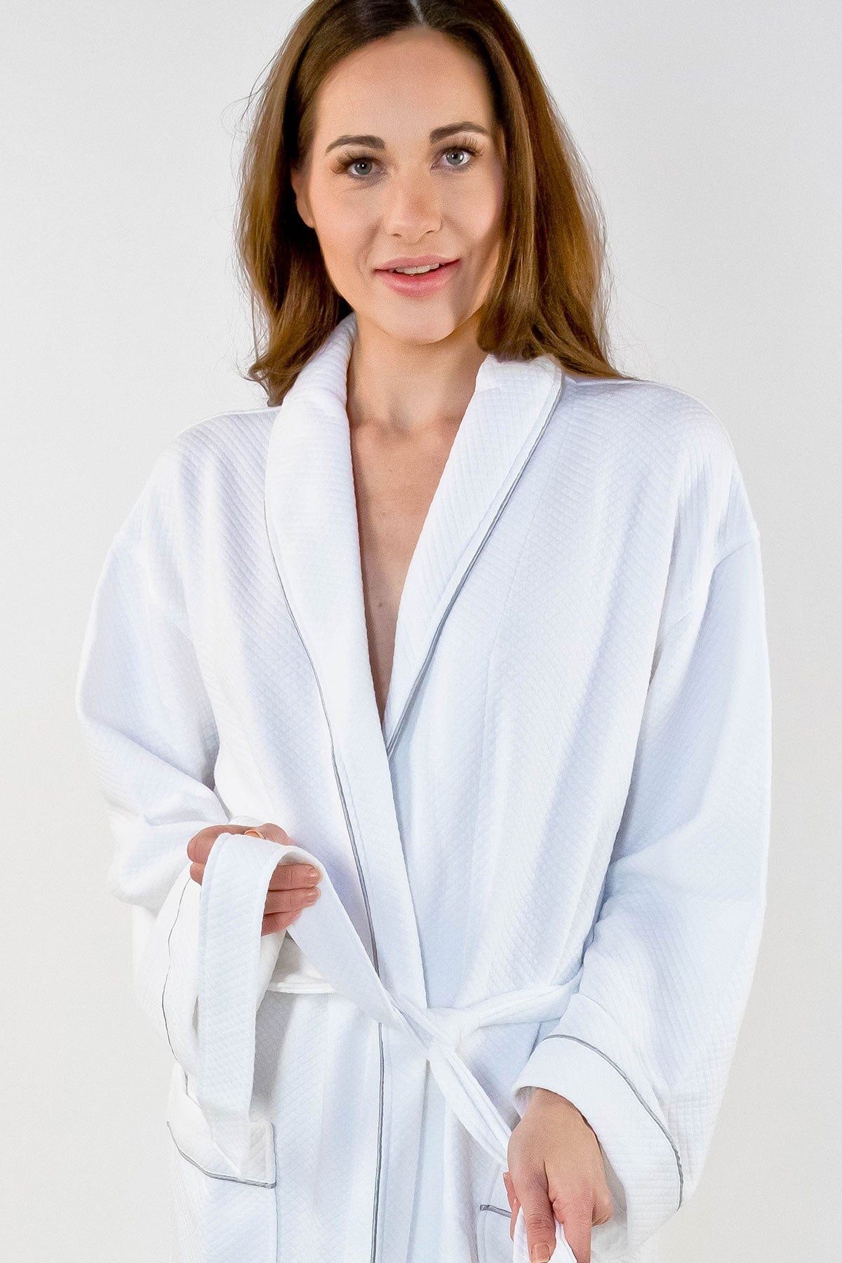 Grid Style Bath Robe White with Grey Piping
