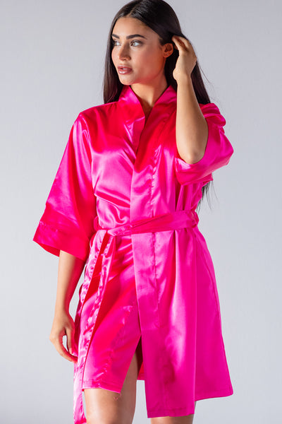 best choice top-rated latest big discount of 2019 Hot Pink Satin Kimono Robe