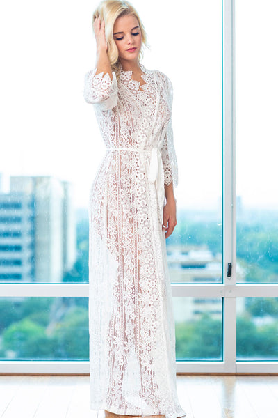 Long Lace Sheer Matinee Robe