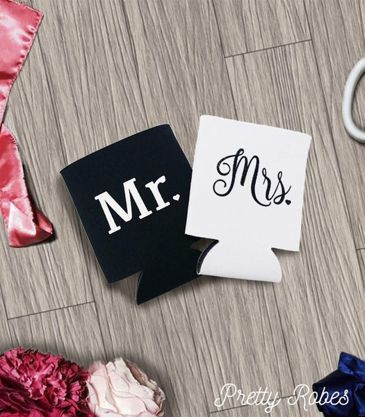 Mr. & Mrs. Koozies in Black and White - PrettyRobes.com