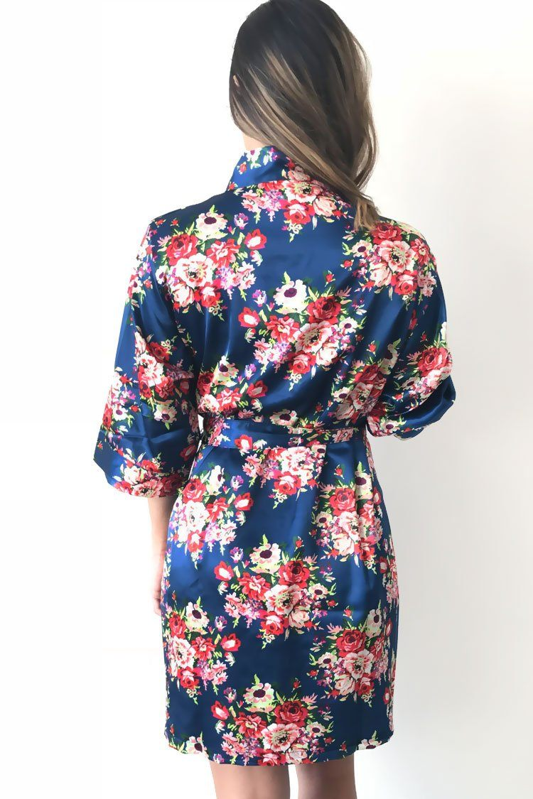 Floral Navy Robe Floral Bridesmaid Robe Navy Floral Robes On Sale Prettyrobes Com