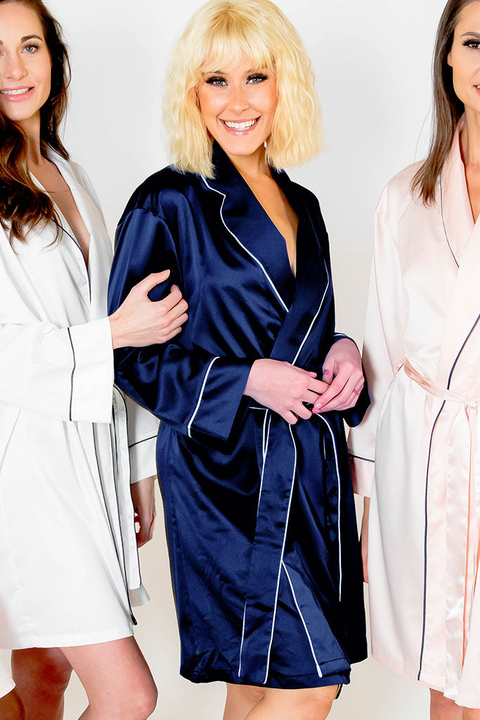 Navy Blue Piped with White Trim Satin Kimono Robe