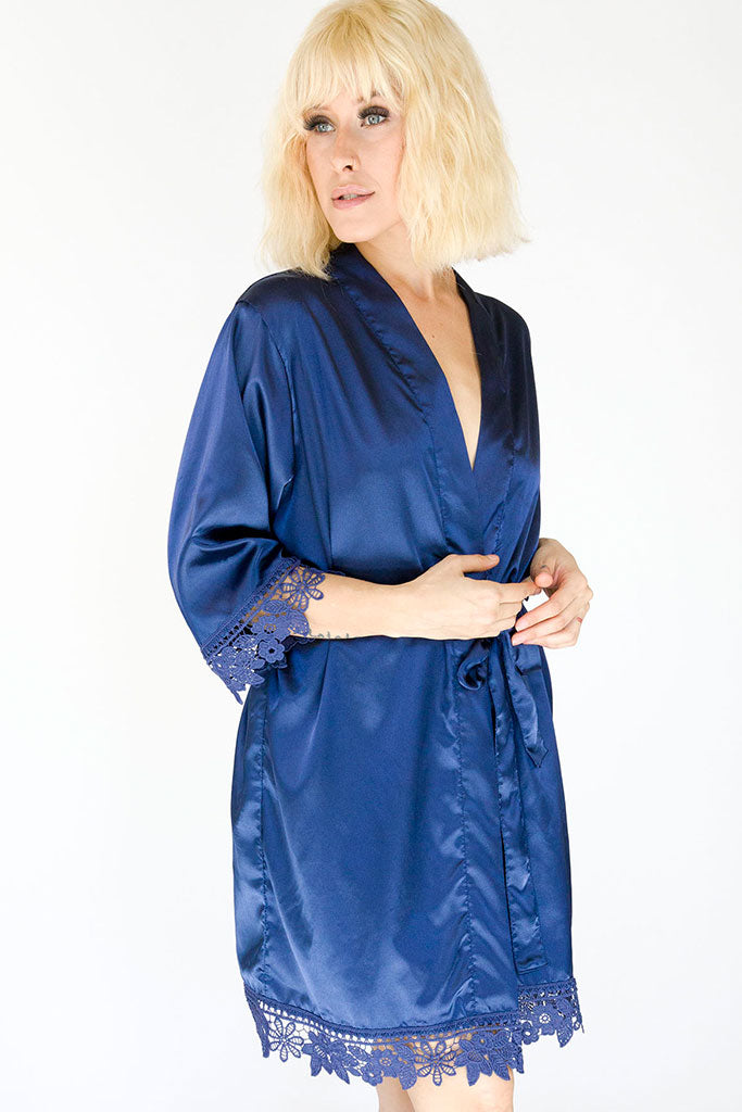 navy lila lace bridal robe front view