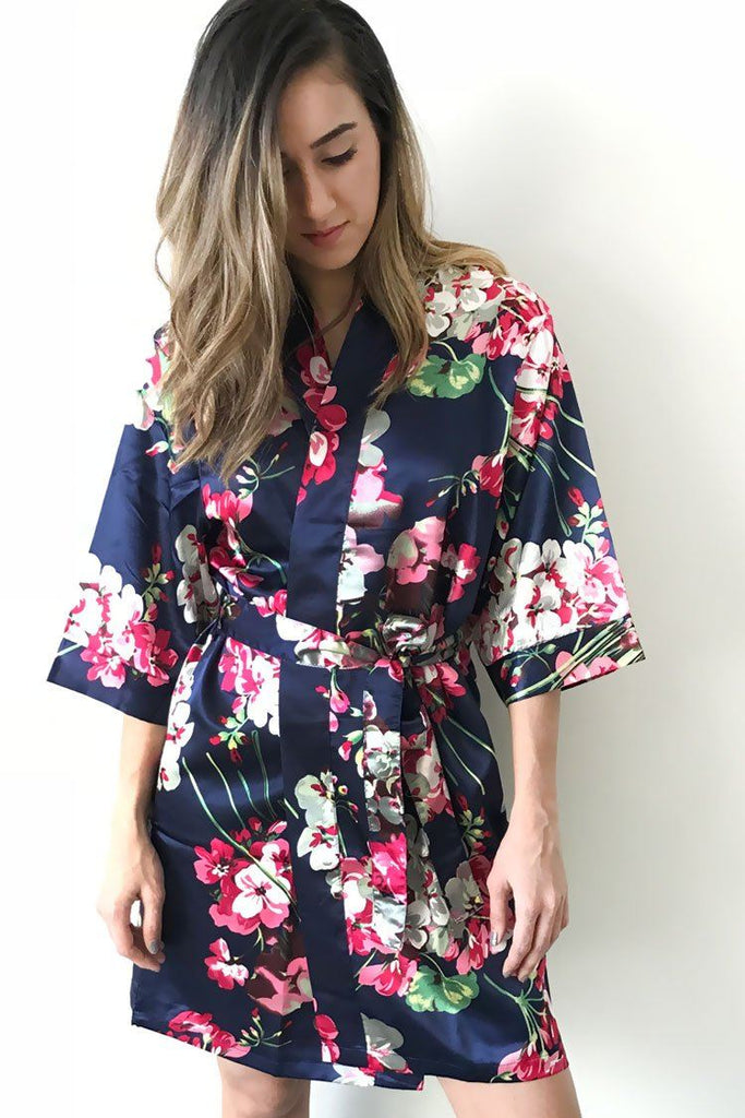 floral dark navy satin kimono bridal robe front view