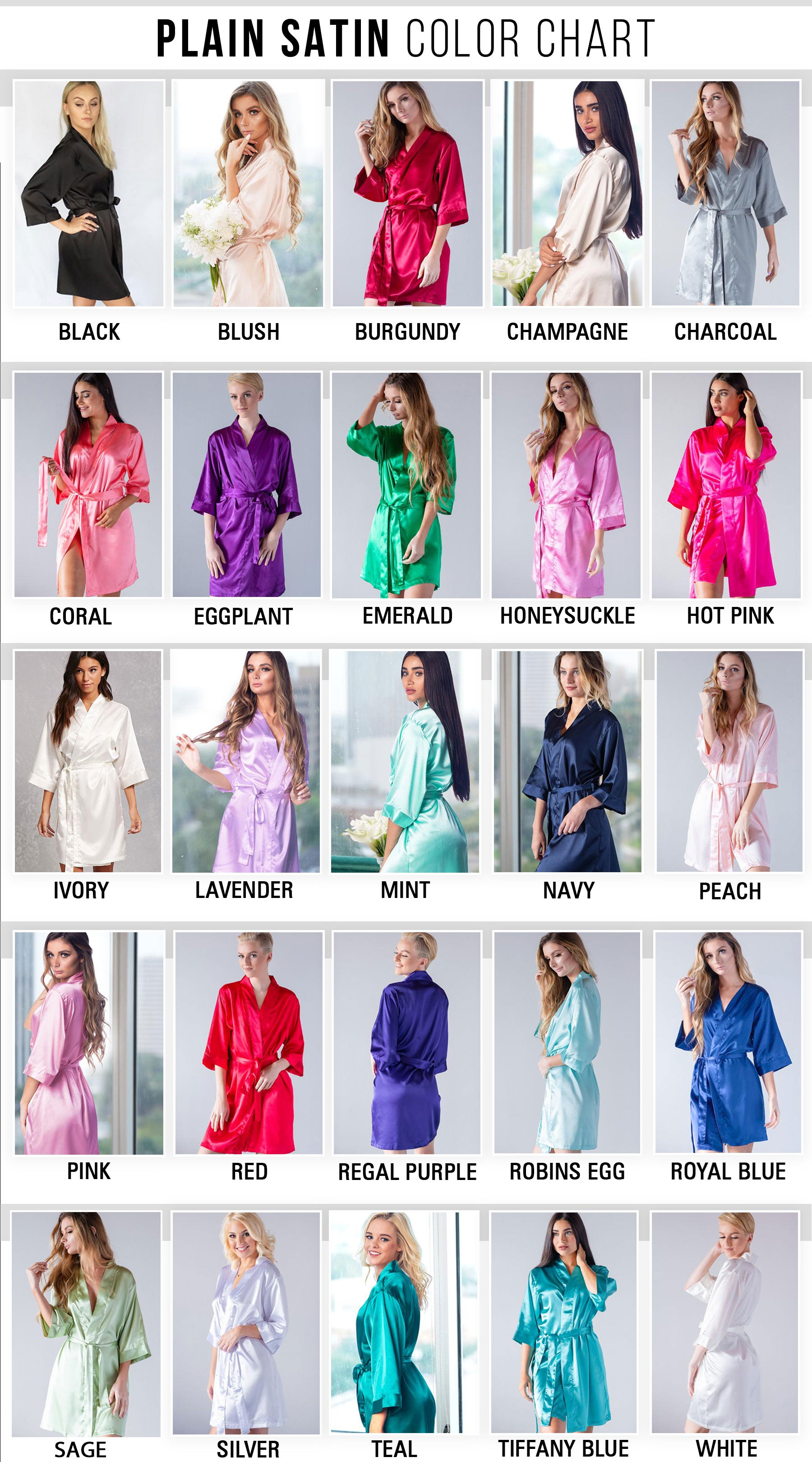 Customized Bridal Party Robe Satin Bridesmaid Robes At Pretty Robes Prettyrobes Com