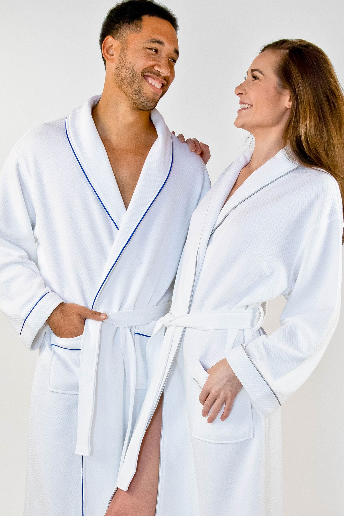 Grid Style Bath Robe White with Royal Blue Piping