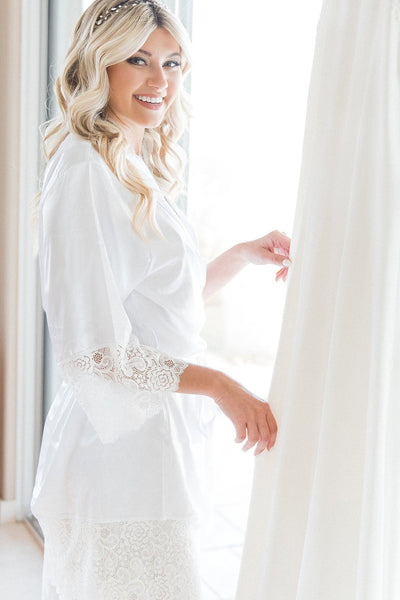 White Lace Bridal Robe