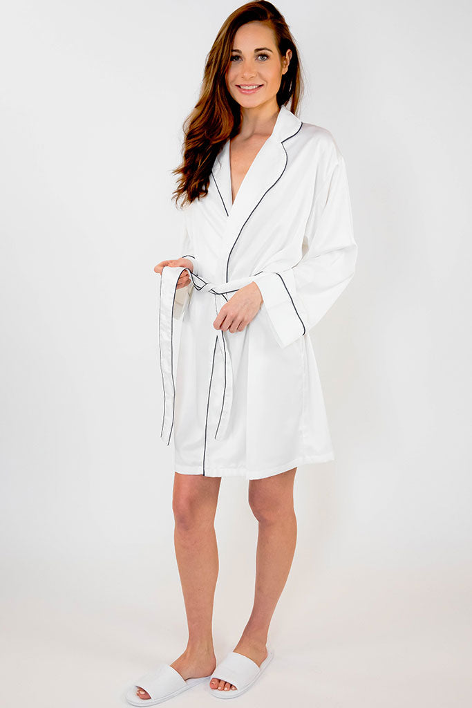 White Piped with Navy Blue Trim Satin Kimono Robe