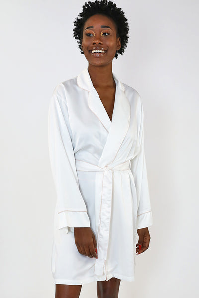White Piped with Pink Trim Satin Kimono Robe