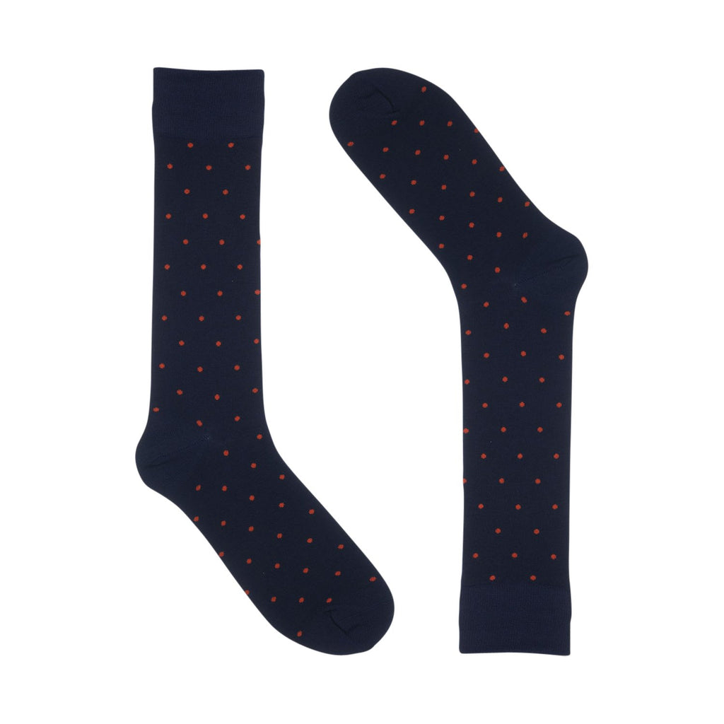 Navy & Orange Small Polka Dot