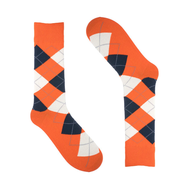 Groomsmen Socks - Men's Orange Argyle - (8 Pairs)