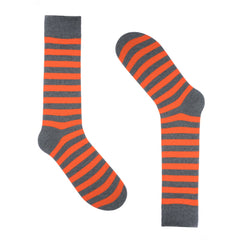 Grey Orange Striped Dress Socks