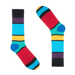 Black Block Striped Dress Socks