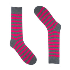 Hot Pink and Grey Striped Dress Socks