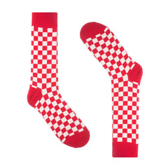 Red Checkered Dress Socks