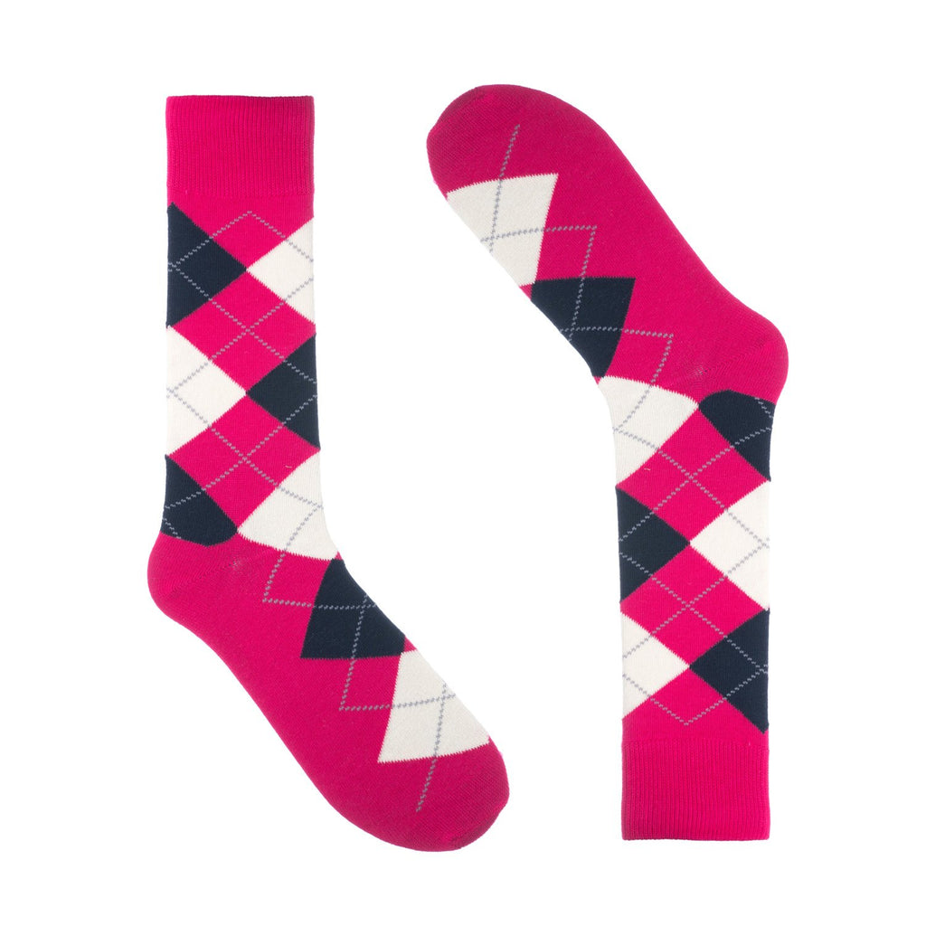 Hot Pink Argyle Dress Socks