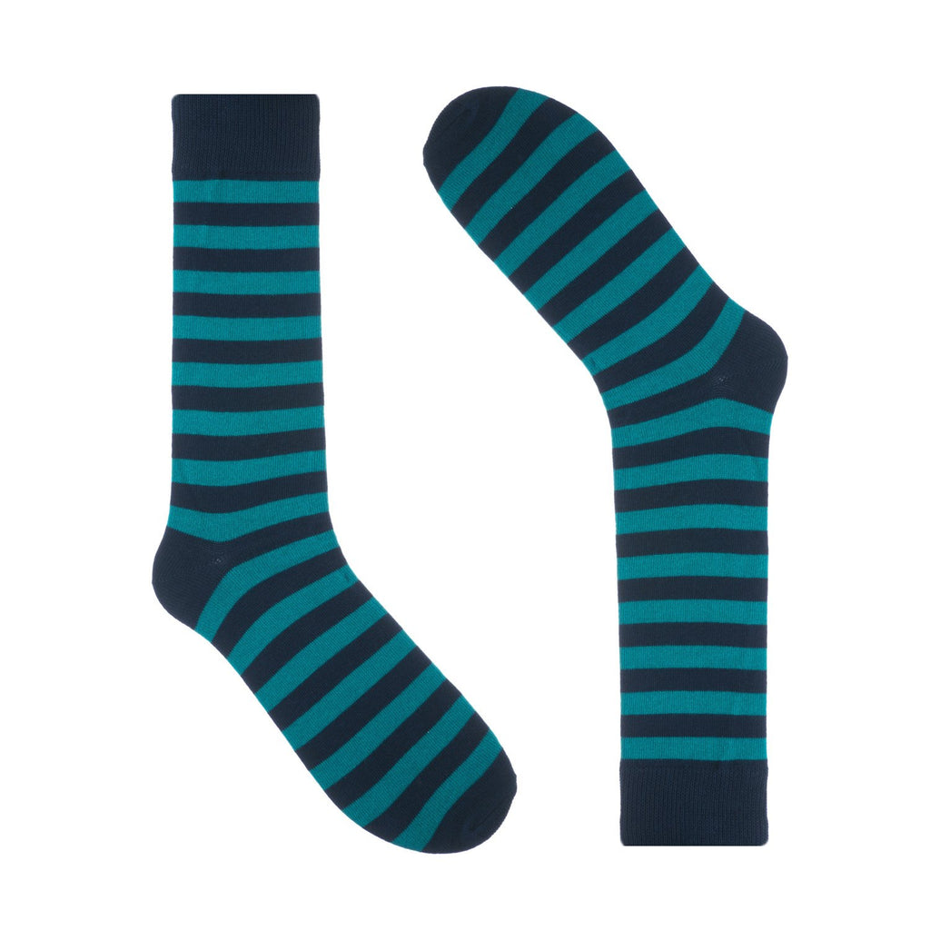 Navy Light Blue Striped Dress Socks