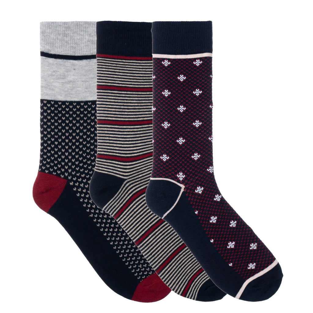 3 Pack Red Blue Grey Striped Dress Socks