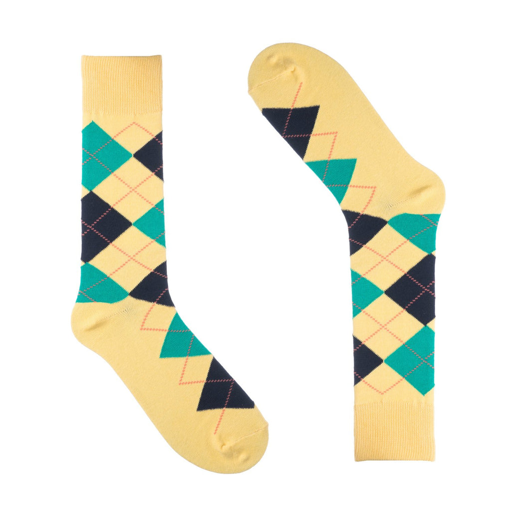 Yellow Argyle Dress Socks