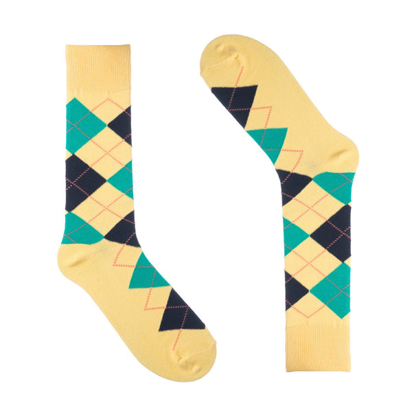 Groomsmen Socks - Men's Yellow Argyle - (6 Pairs)
