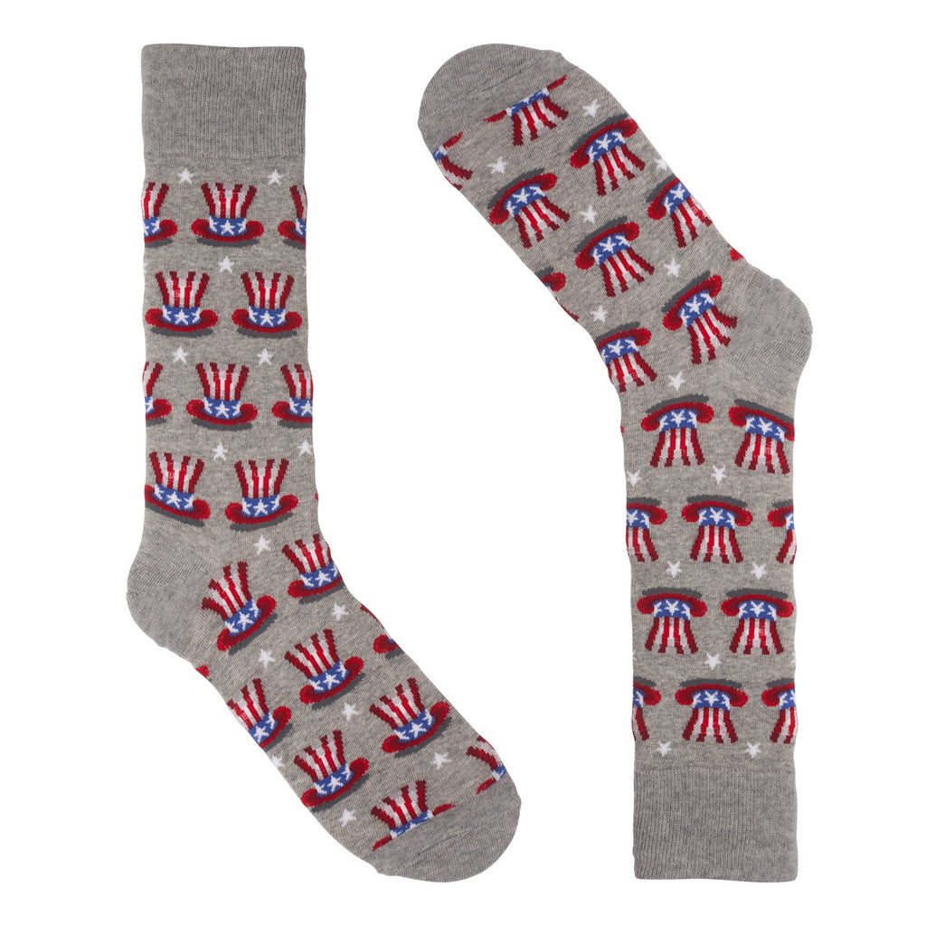 Patriotic Hat Grey Dress Socks