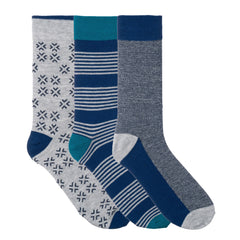 3 Pack Light Blue Grey Striped Dress Socks