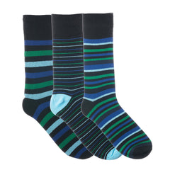 3 Pack Blue Green and Black Striped Dress Socks