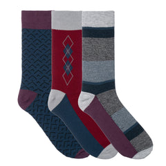 3 Pack Blue Burgundy Grey Dress Socks