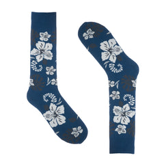 Hawaiian Flowers Blue Dress Socks